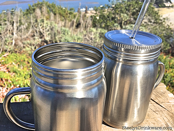 22 Oz Custom Stainless Steel Mason Jar With Reusable