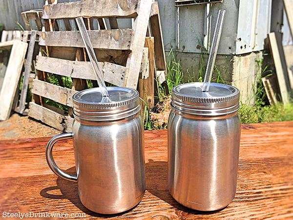 22 Oz Custom Stainless Steel Mason Jar With Reusable