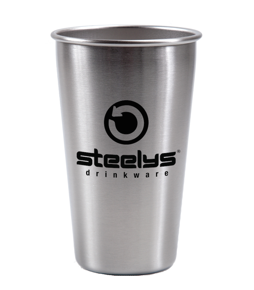 steelys silver stainless steel custom branded 16 oz pint cup