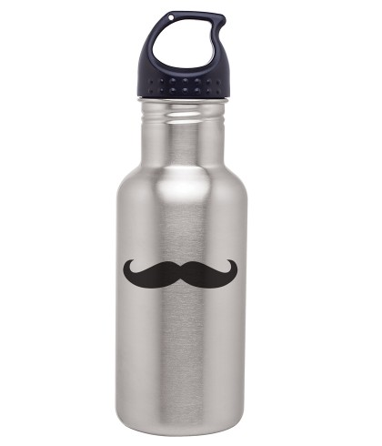 Silver Stainless Steel 18 Oz EZ Twist Bottle - Mustache