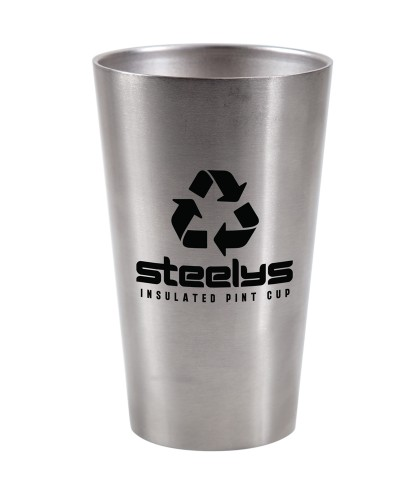 Sustainable, Custom Insulated Stainless Steel Cup - Steelys Logo