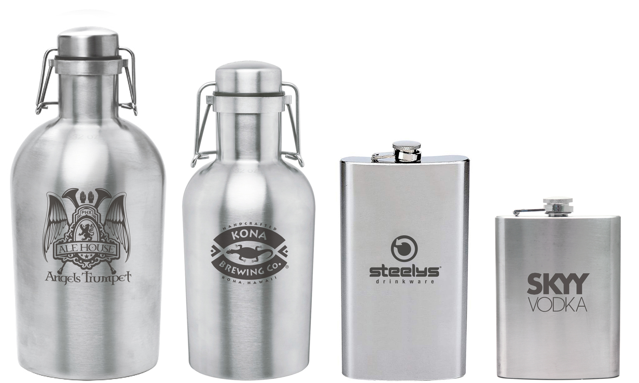 personalized stainless steel growlers and flasks