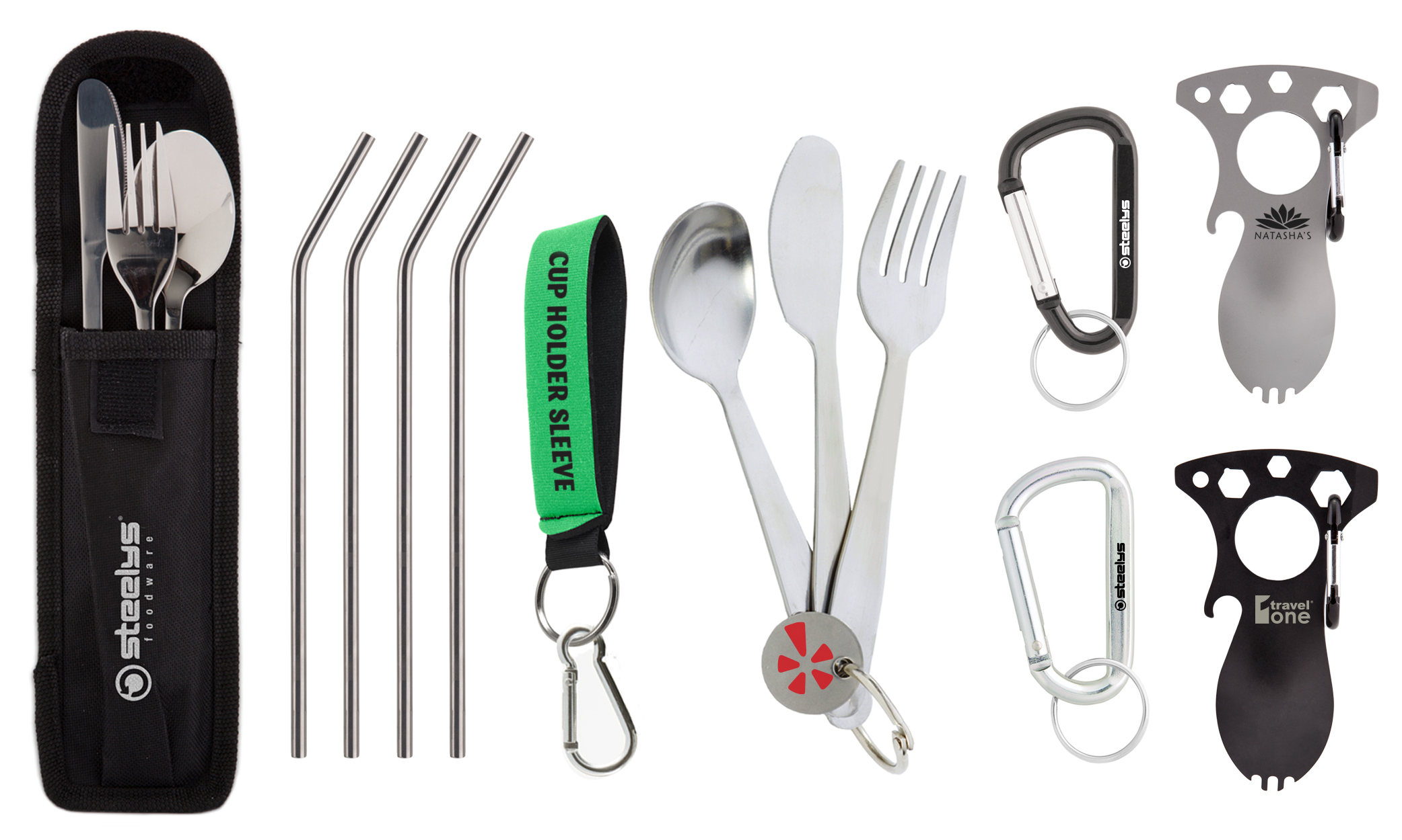 stainless steel straws, carabiners, utensils set, and neoprene bottle strap