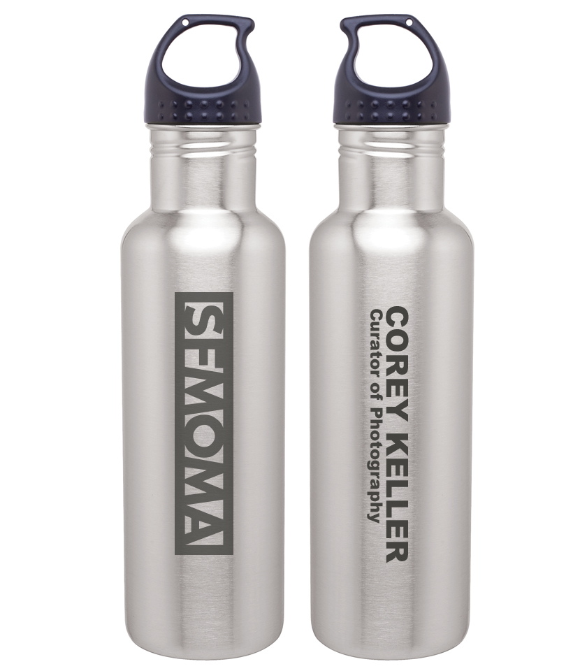 personalized sfmoma laser engraved branded silver water bottle