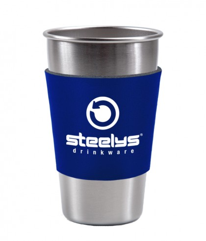 blue neoprene koozie on stainless steel pint cup