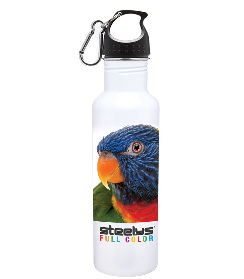 bird photograph on steelys stainless steel water bottle