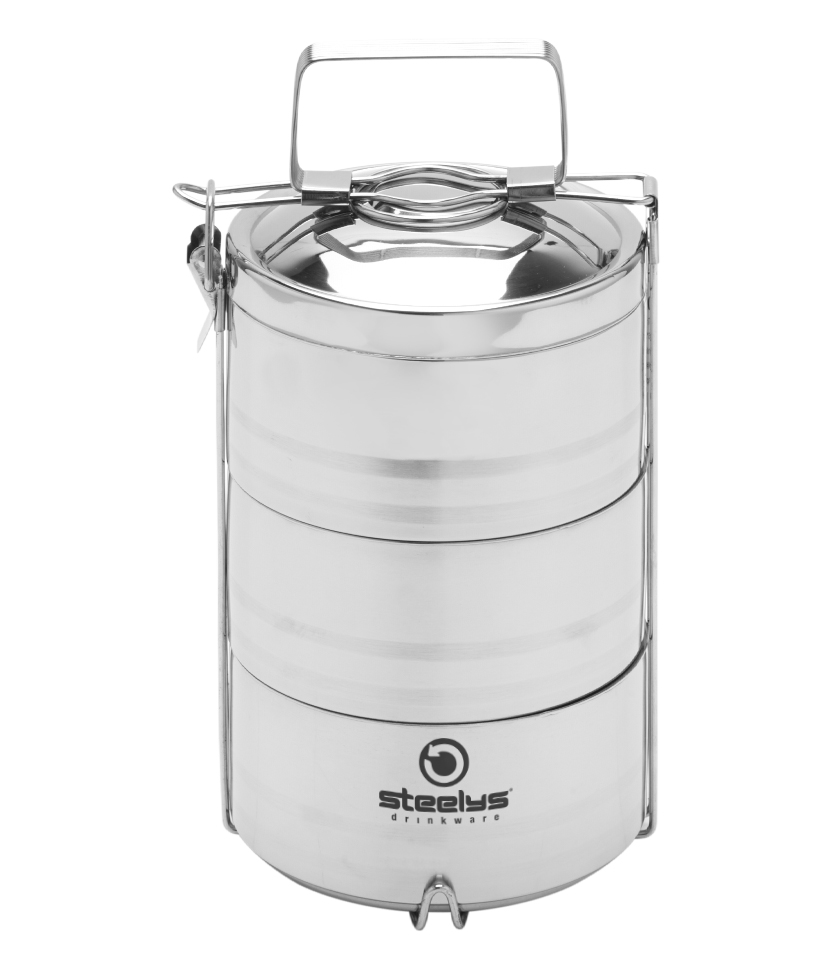 three-tiered insulated tiffin food container with handle