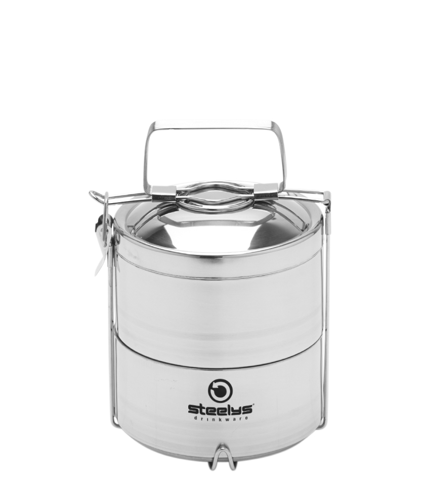 Two Tiered Insulated Tiffin Food Storage Container With Handle